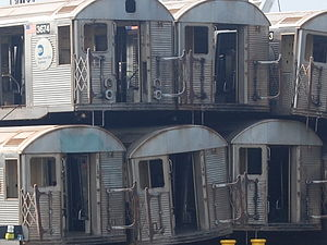 R32/A (New York City Subway car) - Retired R32 cars being shipped out to the Atlantic Ocean for reefing.