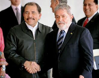 Daniel Ortega - Ortega with Brazilian President Luiz Inácio Lula da Silva at Itamaraty Palace in Brasília, July 28, 2010.