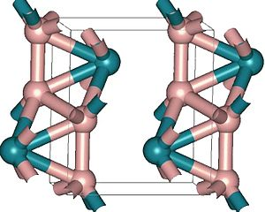 Ruthenium boride - Structure of orthorombic RuB2. Green atoms are Ru, pink - boron