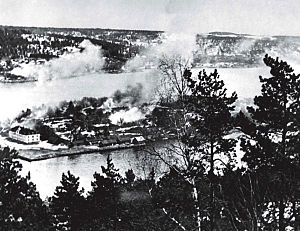 Battle of Drøbak Sound - Oscarsborg's Hovedøya under Luftwaffe attack