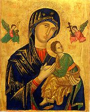 Our Mother of Perpetual Help. Reproductions are sometimes displayed in homes or elsewhere. Catholics pray to the Blessed Virgin Mary to intercede on behalf of them to the Lord Jesus Christ.