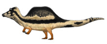 Speculative life restoration of Oxalaia depicted as similar to Spinosaurus, with half its body underwater while in a swimming position