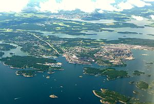 Oxelösund - 2012 aerial view of Oxelösund with Nyköping in the background