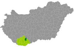 Pécsvárad District within Hungary and Baranya County.