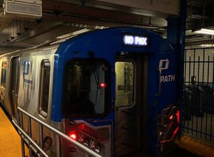 "Passenger - PATH train with ""NO PAX"" on its destination sign"
