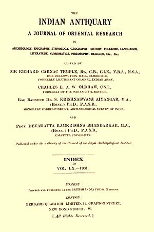 The Indian Antiquary - Cover page of a 1931 edition of The Indian Antiquary