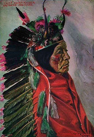 Cheyenne - Painting of chief Chief Killer, a Southern Cheyenne war chief, wearing society headdress. Painted by E.A Burbank, 1899.