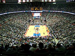 An overhead shot of the interior of the basketball arena
