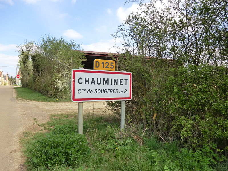 Panneau d'entrée du hameau Chauminet à Sougères-en-Puisaye.