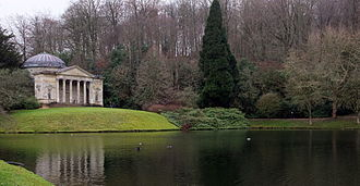 "Landscape architecture - Stourhead in Wiltshire, England, designed by Henry Hoare (1705–1785), ""the first landscape gardener, who showed in a single work, genius of the highest order"""