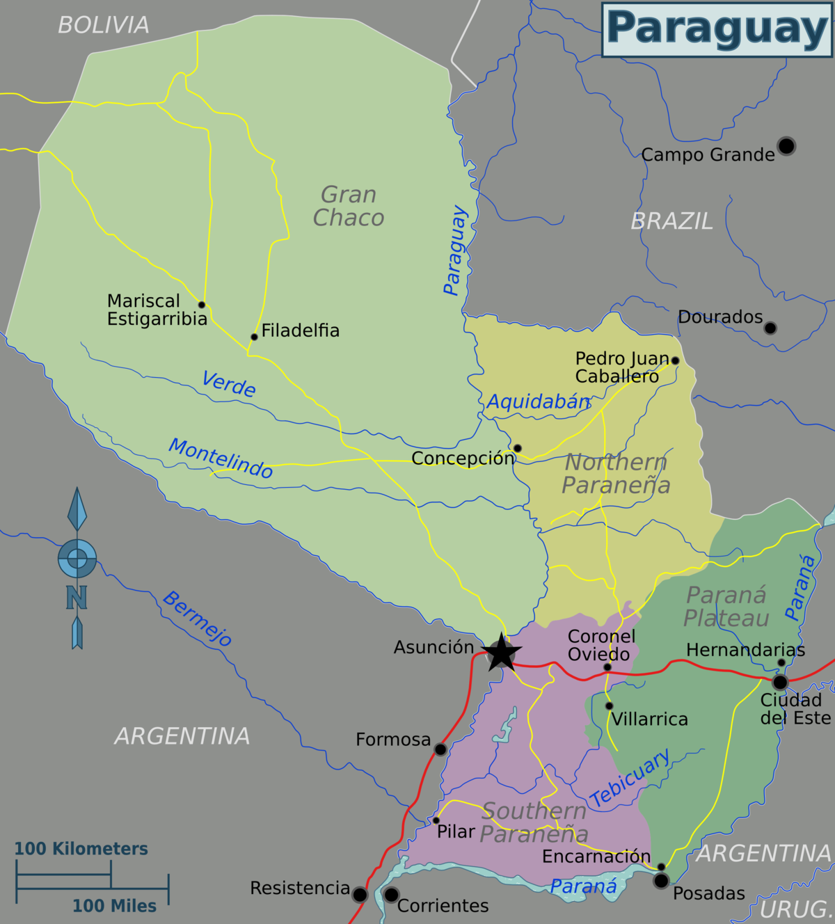 Paraguay  Travel Guide At Wikivoyage - South america map gran chaco