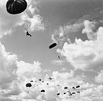 Paratroops jump from a Whitley at RAF Ringway, August 1942. H22943.jpg