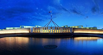 The new Parliament House in Canberra was opened in 1988. Parliament House Canberra Dusk Panorama.jpg