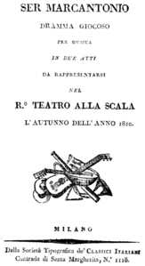 Pavesi - Ser Marcantonio - title page of the libretto, Milan 1810.png