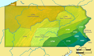 Line of Property - Map showing Pennsylvania and the territory involved in the purchase of 1768.