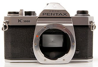 Pentax K1000 - Without lens, showing the K mount and mirror.