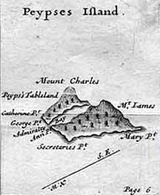 John Byron - The mythical Pepys Island, which Byron searched for in 1764-65. Illustration by William Hacke, 1699.