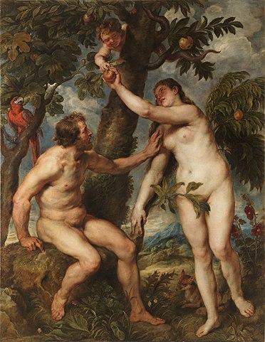Копия «Грехопадения» Тициана. Масло по дереву. 238 × 184,5 см. Мадрид, Музей Прадо