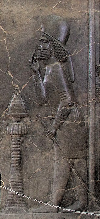 Pharnaces (son of Arsames) - Likely image of Pharnaces as Mayor of the Palace, appearing in front of Darius and performing Proskynesis, in the Central relief of the Apadana, Persepolis.