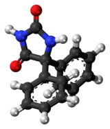 Ball-and-stick model of the phenytoin molecule
