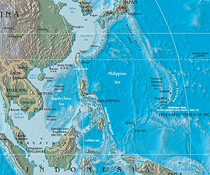 Mariana Islands - Geology of the west Pacific in the area of the Mariana Islands. The Mariana Islands are at map-right, east of the Philippine Sea and just west of the Mariana Trench in the ocean floor.
