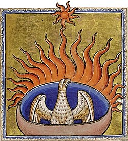 The phoenix from the Aberdeen Bestiary