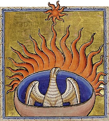 la légende du Phénix renaissant de ses cendres est une croyance en la résurrection si empreinte dans la civilisation européenne qu'elle est passée sur les plans symbolique et littéraire.détail du bestiaire d'Aberdeen, XIIesiècle