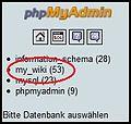 PhpMyAdmin 3.3 Choose DB de.jpg