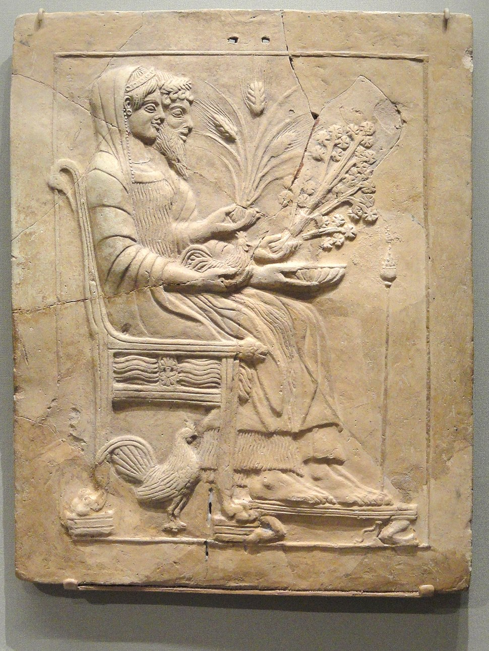 Pinax with Persephone and Hades Enthroned, 500-450 BC, Greek, Locri Epizephirii, Mannella district, Sanctuary of Persephone, terracotta - Cleveland Museum of Art - DSC08242