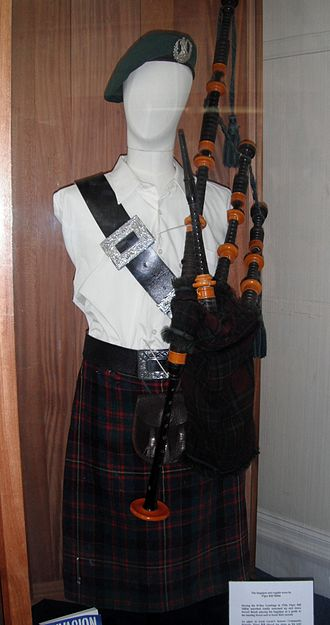 Bill Millin - Piper Bill Millin's bagpipes played on Sword during the D-Day landings on display at Dawlish Museum along with his bonnet, 100-year-old kilt and dirk