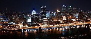 The night view of Pittsburgh skyline from Moun...