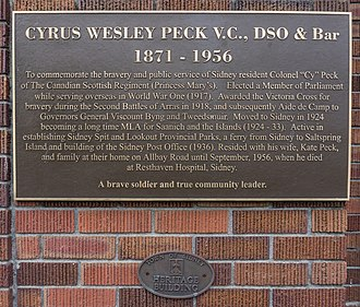 Cyrus Wesley Peck - Memorial plaque dedicated to Cyrus Wesley Peck in Sidney, British Columbia