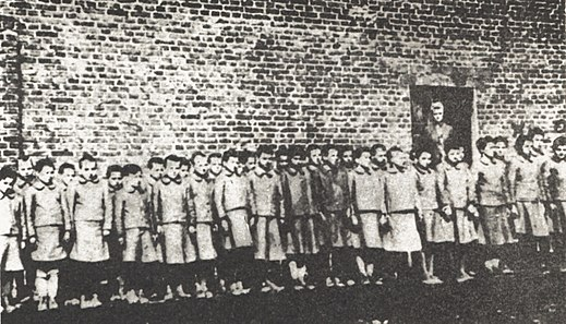 Roll-call for 8-year-old girls at the child labour camp in Dzierzazna, set up as a sub-camp of the concentration camp for Polish children, adjacent to the Lodz Ghetto Polish children in Nazi-German labor camp in Dzierzazna.jpg