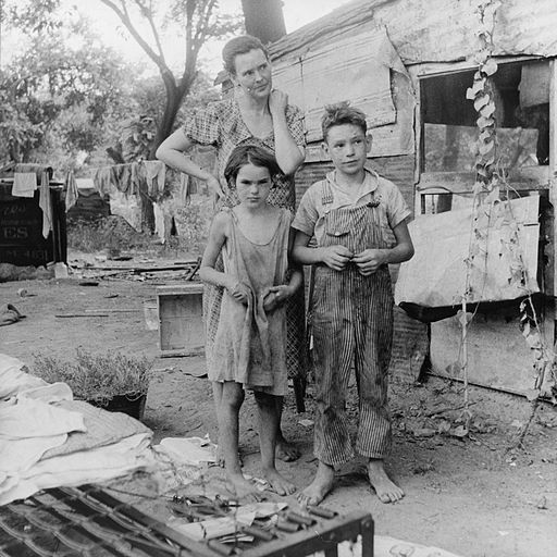 Poor mother and children, Oklahoma, 1936 by Dorothea Lange