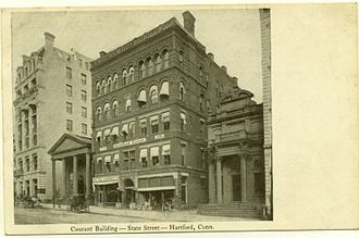 Courant building on State Street (about 1900) PostcardHartfordCourant1898to1901.jpg