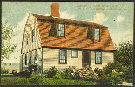 A postcard depicting Allen's birthplace in Litchfield, Connecticut PostcardLitchfieldCTEthanAllenBirthplace1916.jpg
