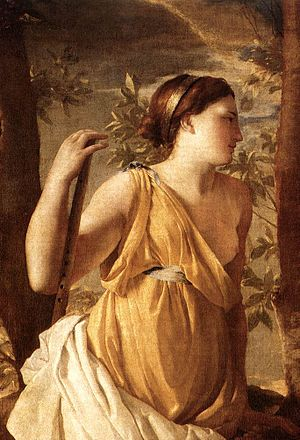 The Inspiration of the Poet - Detail of the Muse, perhaps Poussin's wife Anna