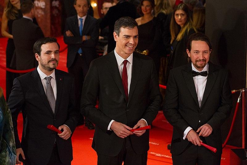 File:Premios Goya 2018 - Alberto Garzón, Pedro Sánchez y Pablo Iglesias 02.jpg