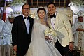 President Benigno Aquino III poses for a photo with newlyweds Marian Rivera and Dingdong Dantes.jpg