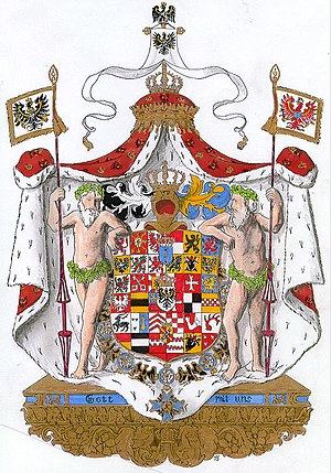 Gott mit uns - Frederick I of Prussia's coat of arms from a woodcut, 1709