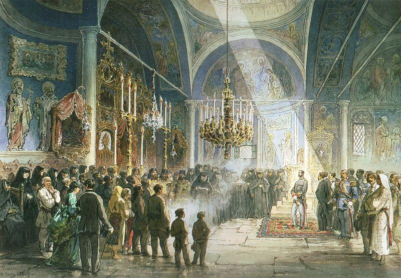 File:Preziosi - Vizita domnitorului Carol I la Manastirea Pasarea,.jpg