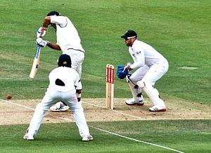 Matt Prior keeps wicket to Graeme Swann agains...