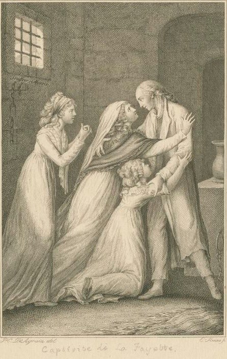 Prison reunion of Lafayette with his wife and daughters