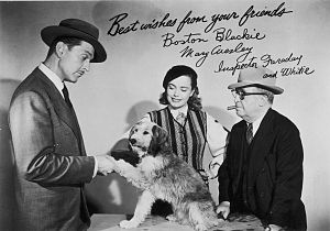 Frank Orth - Frank Orth (right) appears as Inspector Farrady in a photo of the cast of the Boston Blackie TV show. Kent Taylor, Lois Collier and Whitie the Dog are seen with him.
