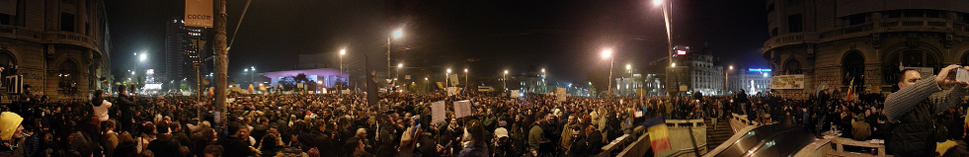 People protesting in University Square, Bucharest, on 5 November