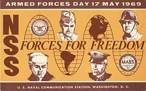 Military Auxiliary Radio System - QSL card sent by US Navy MARS station NSS for a cross-band radio contact with W2LV on Armed Forces Day 1969