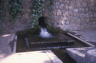 Qanat - A Kariz surfacing in Niavaran, Tehran. It is used for watering the grounds of The National Library of Iran.
