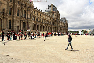 Queue area - Queue of visitors to the Louvre