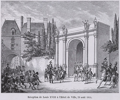 Louis XVIII makes a return at the Hotel de Ville de Paris on August 29th, 1814. Reception de Louis XVIII a l'Hotel de Ville, 29 aout 1814.jpg