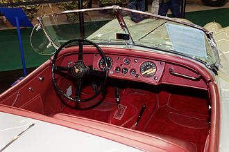 Jaguar XK140 - Open two-seater or roadster interior 1956 showing waterproof leather fascia